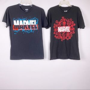 Marvel - Lot of 2 Black Graphic T Shirts Small